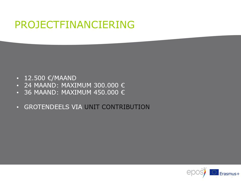 PROJECTFINANCIERING 12.500 €/MAAND 24 MAAND: MAXIMUM 300.000 € 36 MAAND: MAXIMUM 450.000 € GROTENDEELS VIA UNIT CONTRIBUTION
