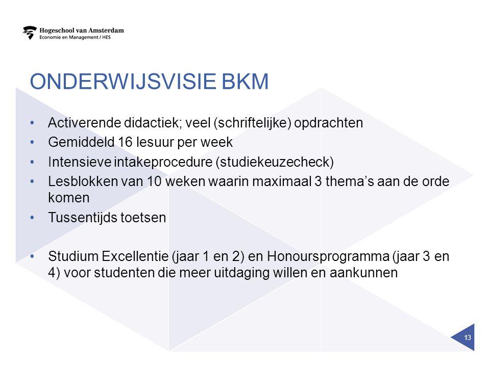 ONDERWIJSVISIE BKM Activerende didactiek; veel (schriftelijke) opdrachten Gemiddeld 16 lesuur per week Intensieve intakeprocedure (studiekeuzecheck) L