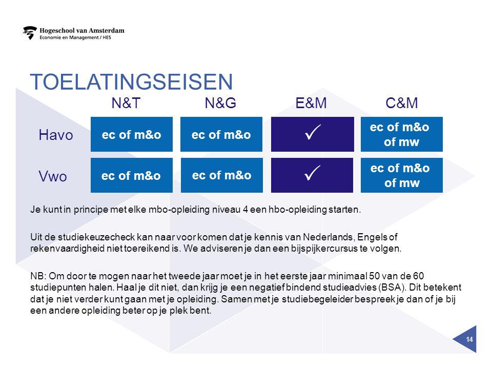TOELATINGSEISEN 14 E&MC&MN&TN&G ec of m&o  Havo Vwo  Je kunt in principe met elke mbo-opleiding niveau 4 een hbo-opleiding starten. Uit de studiekeu
