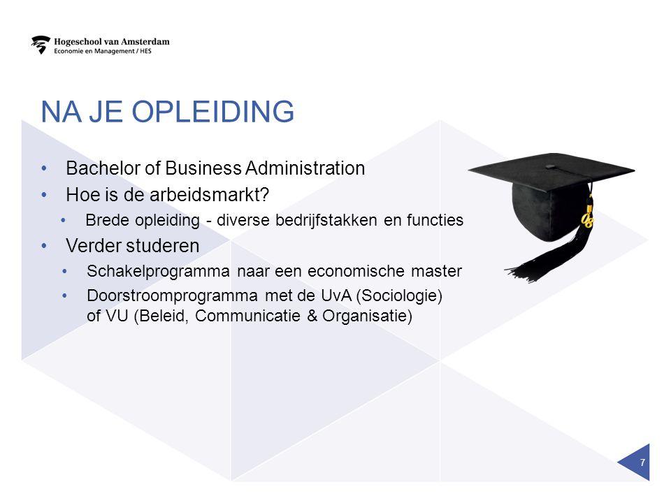 NA JE OPLEIDING Bachelor of Business Administration Hoe is de arbeidsmarkt? Brede opleiding - diverse bedrijfstakken en functies Verder studeren Schak