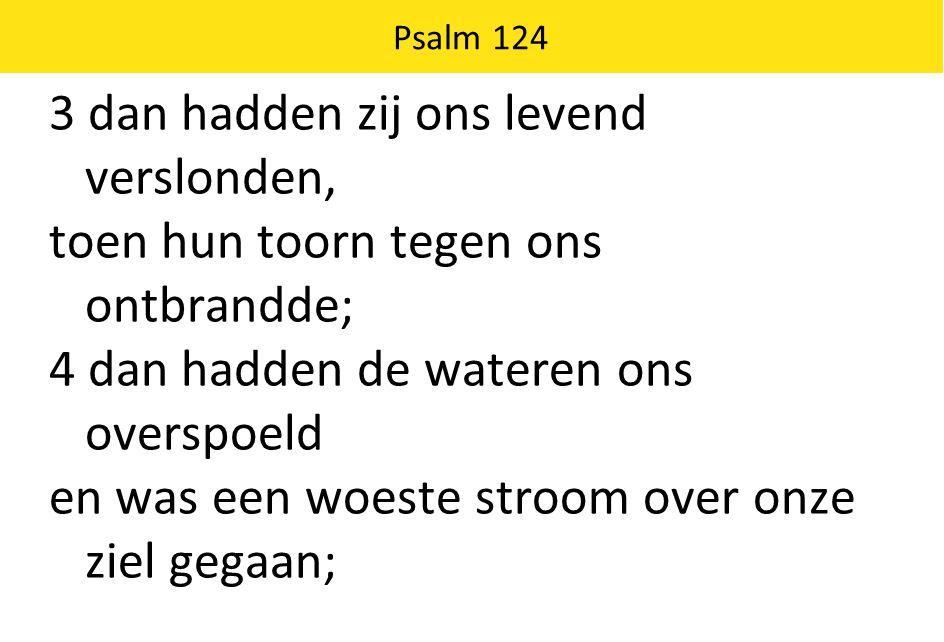 Psalm 124 3 dan hadden zij ons levend verslonden, toen hun toorn tegen ons ontbrandde; 4 dan hadden de wateren ons overspoeld en was een woeste stroom over onze ziel gegaan;