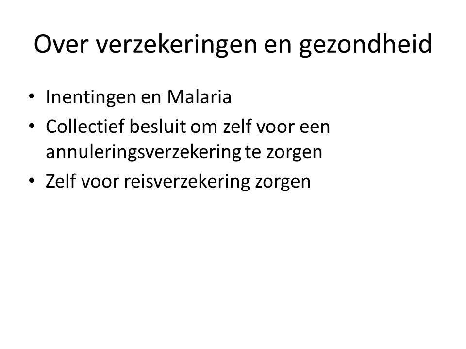 Over verzekeringen en gezondheid Inentingen en Malaria Collectief besluit om zelf voor een annuleringsverzekering te zorgen Zelf voor reisverzekering zorgen