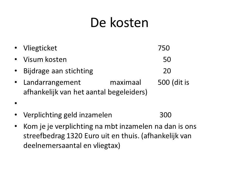 De kosten Vliegticket750 Visum kosten 50 Bijdrage aan stichting 20 Landarrangementmaximaal 500 (dit is afhankelijk van het aantal begeleiders) Verplichting geld inzamelen 300 Kom je je verplichting na mbt inzamelen na dan is ons streefbedrag 1320 Euro uit en thuis.