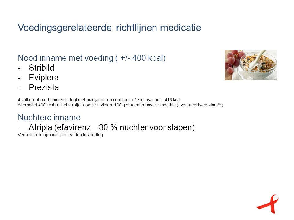 Voedingsgerelateerde richtlijnen medicatie Nood inname met voeding ( +/- 400 kcal) -Stribild -Eviplera -Prezista 4 volkorenboterhammen belegt met marg