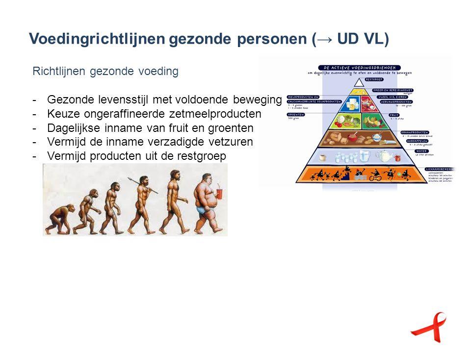 Voedingrichtlijnen gezonde personen (→ UD VL) Richtlijnen gezonde voeding -Gezonde levensstijl met voldoende beweging -Keuze ongeraffineerde zetmeelpr