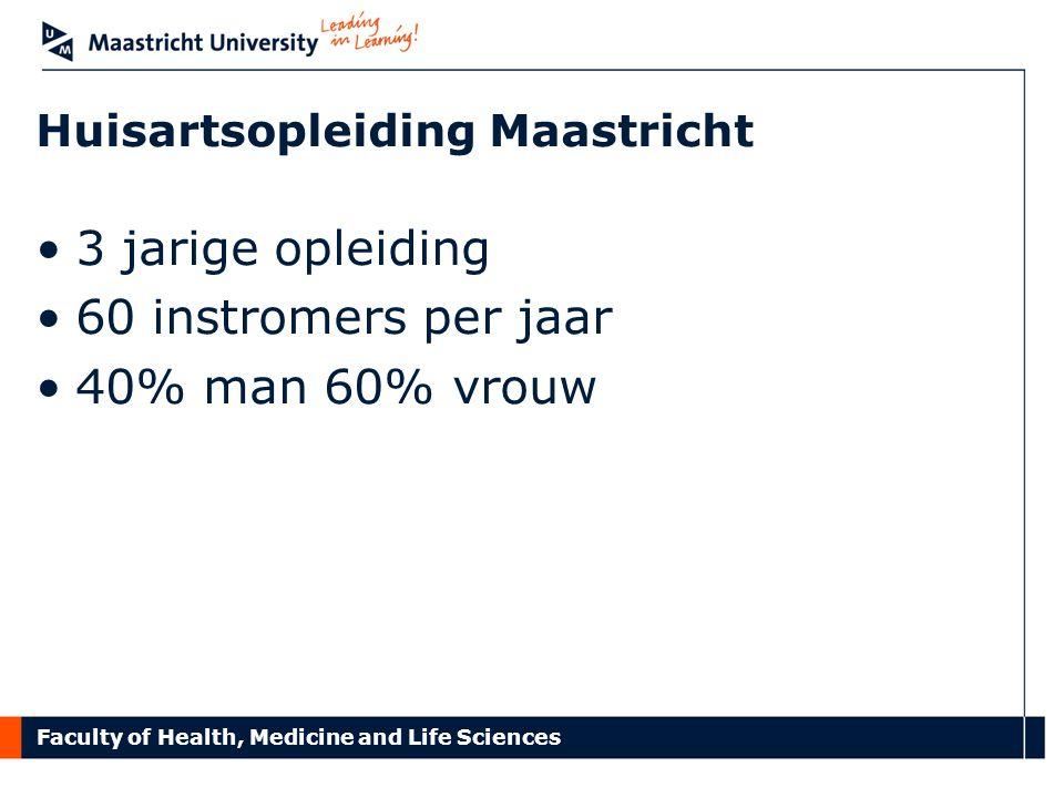 Huisartsopleiding Maastricht 3 jarige opleiding 60 instromers per jaar 40% man 60% vrouw