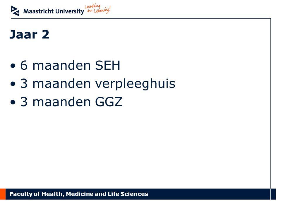 Faculty of Health, Medicine and Life Sciences Jaar 2 6 maanden SEH 3 maanden verpleeghuis 3 maanden GGZ