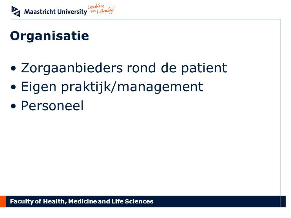 Faculty of Health, Medicine and Life Sciences Organisatie Zorgaanbieders rond de patient Eigen praktijk/management Personeel