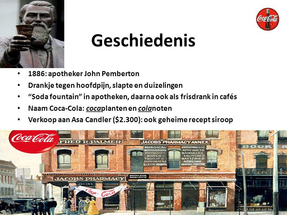 Coca-Cola in flesjes 1893: registratie merk Coca-Cola (verbod namaken) Geheime recept in kluis 1919: verkoop aan familie Woodruff ($25 miljoen) Groei, wereldwijde verkoop, reclame en sponsoring Geschiedenis