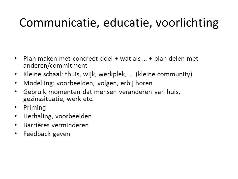 Communicatie, educatie, voorlichting Plan maken met concreet doel + wat als … + plan delen met anderen/commitment Kleine schaal: thuis, wijk, werkplek
