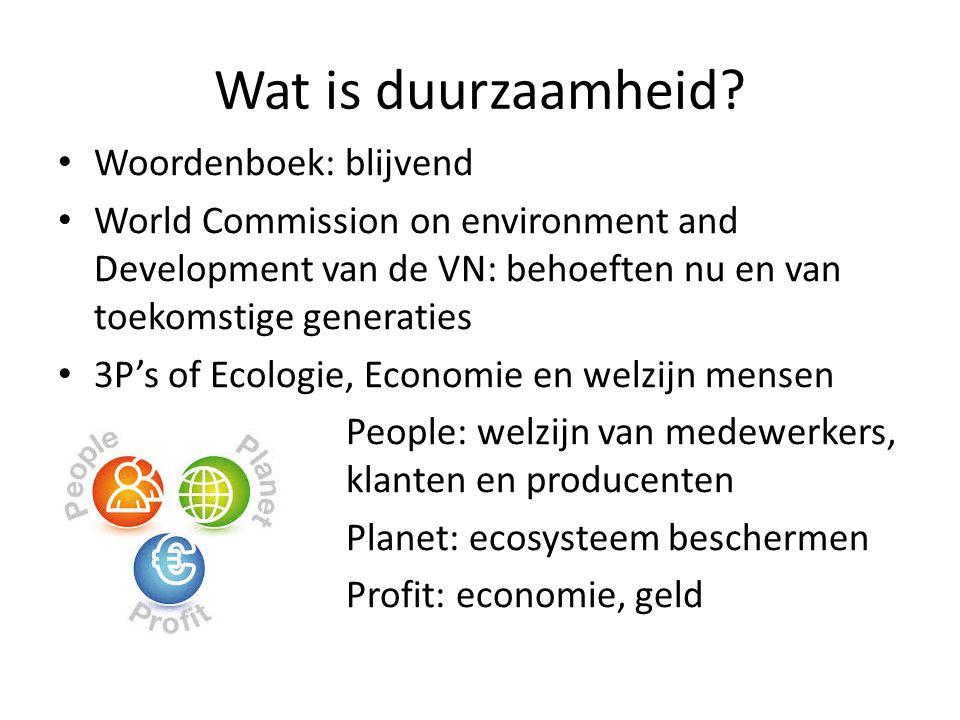 Wat is duurzaamheid? Woordenboek: blijvend World Commission on environment and Development van de VN: behoeften nu en van toekomstige generaties 3P's