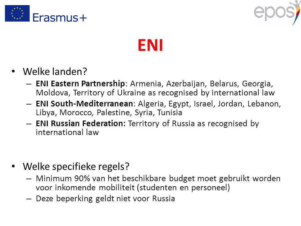 ENI Welke landen? – ENI Eastern Partnership: Armenia, Azerbaijan, Belarus, Georgia, Moldova, Territory of Ukraine as recognised by international law –