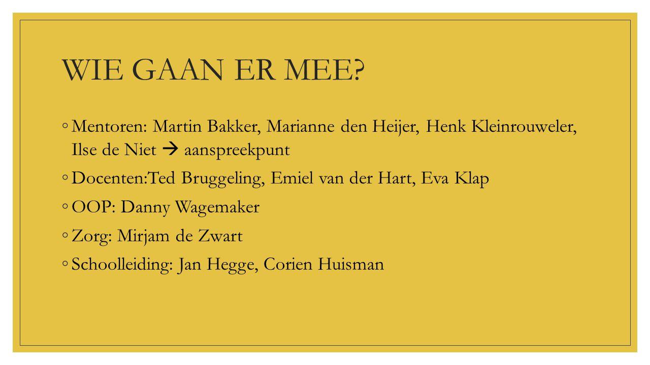WIE GAAN ER MEE? ◦Mentoren: Martin Bakker, Marianne den Heijer, Henk Kleinrouweler, Ilse de Niet  aanspreekpunt ◦Docenten:Ted Bruggeling, Emiel van d