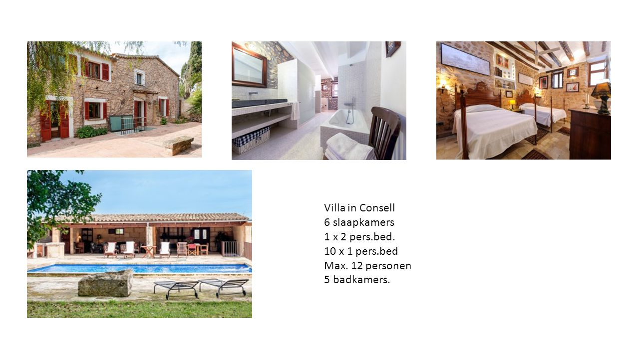 Villa in Consell 6 slaapkamers 1 x 2 pers.bed. 10 x 1 pers.bed Max. 12 personen 5 badkamers.