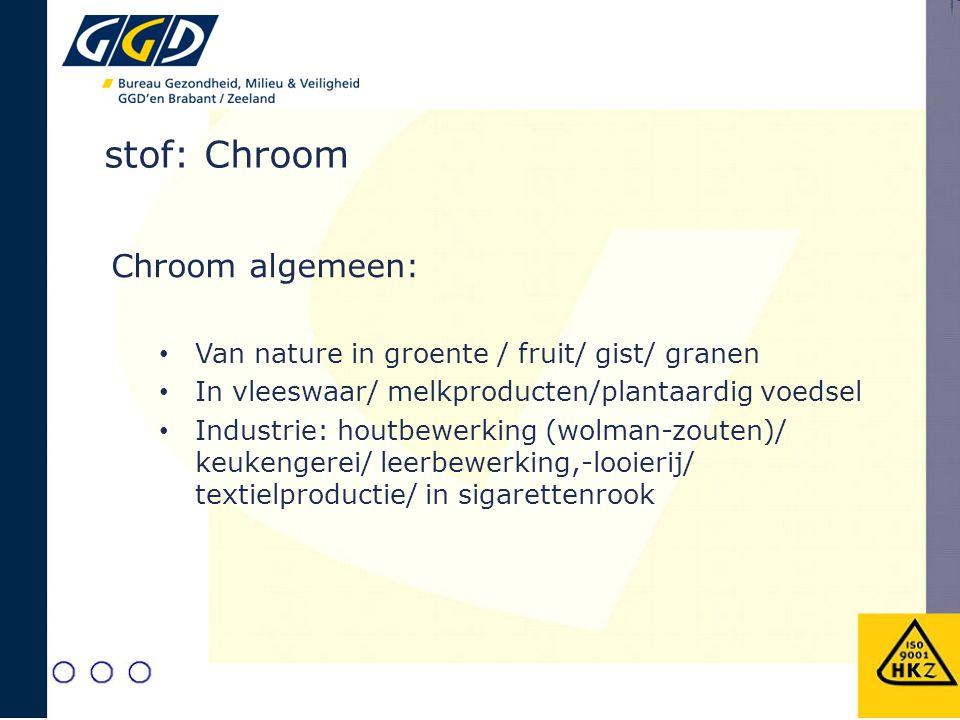 stof: Chroom 3+ en Chroom 6+ Chroom 3+: Essentiële voedingsstof (Cr3+) Tekorten: hart-vaatklachten, diabetes Te veel: (lage giftigheid), huiduitslag, allergie, neusirritaties