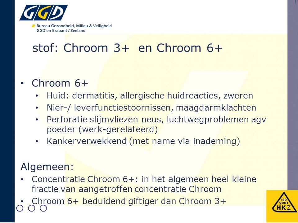 Chroom 6+ Huid: dermatitis, allergische huidreacties, zweren Nier-/ leverfunctiestoornissen, maagdarmklachten Perforatie slijmvliezen neus, luchtwegproblemen agv poeder (werk-gerelateerd) Kankerverwekkend (met name via inademing) Algemeen: Concentratie Chroom 6+: in het algemeen heel kleine fractie van aangetroffen concentratie Chroom Chroom 6+ beduidend giftiger dan Chroom 3+ stof: Chroom 3+ en Chroom 6+