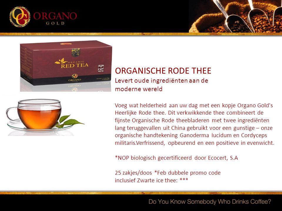 ORGANISCHE RODE THEE Levert oude ingrediënten aan de moderne wereld Voeg wat helderheid aan uw dag met een kopje Organo Gold's Heerlijke Rode thee. Di
