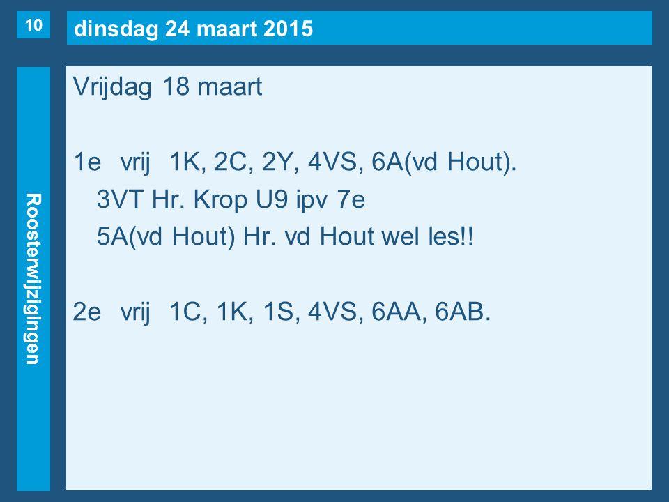 dinsdag 24 maart 2015 Roosterwijzigingen Vrijdag 18 maart 1evrij1K, 2C, 2Y, 4VS, 6A(vd Hout). 3VT Hr. Krop U9 ipv 7e 5A(vd Hout) Hr. vd Hout wel les!!