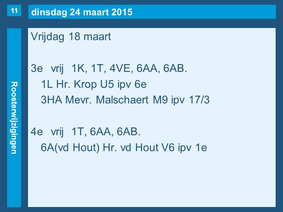 dinsdag 24 maart 2015 Roosterwijzigingen Vrijdag 18 maart 3evrij1K, 1T, 4VE, 6AA, 6AB. 1L Hr. Krop U5 ipv 6e 3HA Mevr. Malschaert M9 ipv 17/3 4evrij1T
