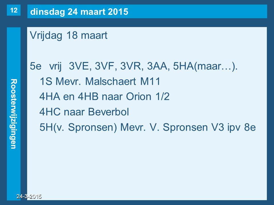 dinsdag 24 maart 2015 Roosterwijzigingen Vrijdag 18 maart 5evrij3VE, 3VF, 3VR, 3AA, 5HA(maar…). 1S Mevr. Malschaert M11 4HA en 4HB naar Orion 1/2 4HC