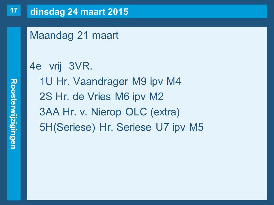 dinsdag 24 maart 2015 Roosterwijzigingen Maandag 21 maart 4evrij3VR. 1U Hr. Vaandrager M9 ipv M4 2S Hr. de Vries M6 ipv M2 3AA Hr. v. Nierop OLC (extr