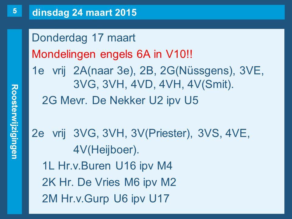 dinsdag 24 maart 2015 Roosterwijzigingen Donderdag 17 maart Mondelingen engels 6A in V10!! 1evrij2A(naar 3e), 2B, 2G(Nüssgens), 3VE, 3VG, 3VH, 4VD, 4V