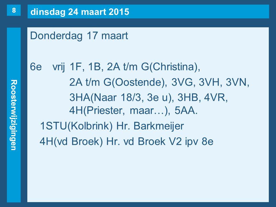 dinsdag 24 maart 2015 Roosterwijzigingen Donderdag 17 maart 6e vrij1F, 1B, 2A t/m G(Christina), 2A t/m G(Oostende), 3VG, 3VH, 3VN, 3HA(Naar 18/3, 3e u