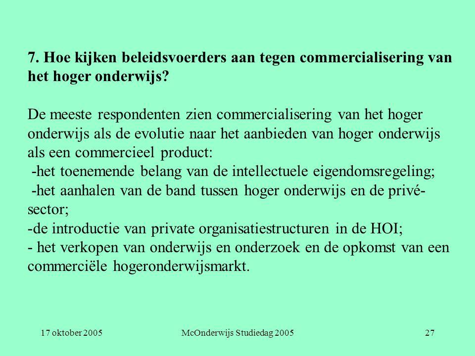 17 oktober 2005McOnderwijs Studiedag 200527 7. Hoe kijken beleidsvoerders aan tegen commercialisering van het hoger onderwijs? De meeste respondenten