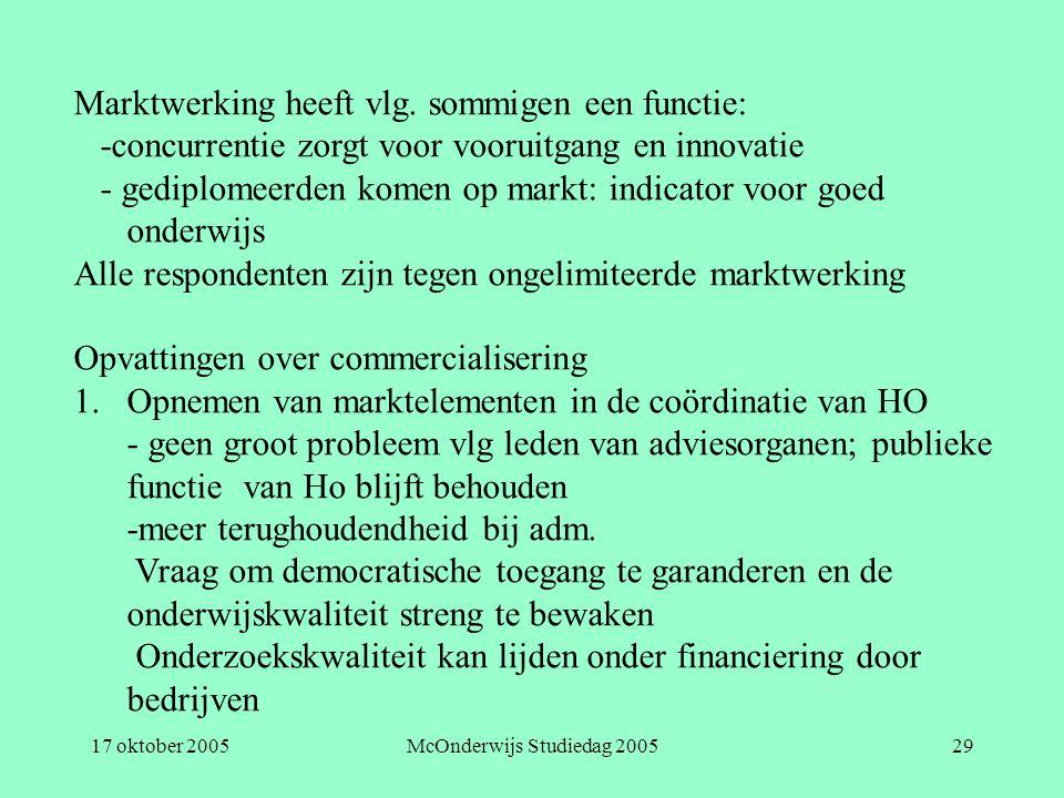 17 oktober 2005McOnderwijs Studiedag 200529 Marktwerking heeft vlg. sommigen een functie: -concurrentie zorgt voor vooruitgang en innovatie - gediplom