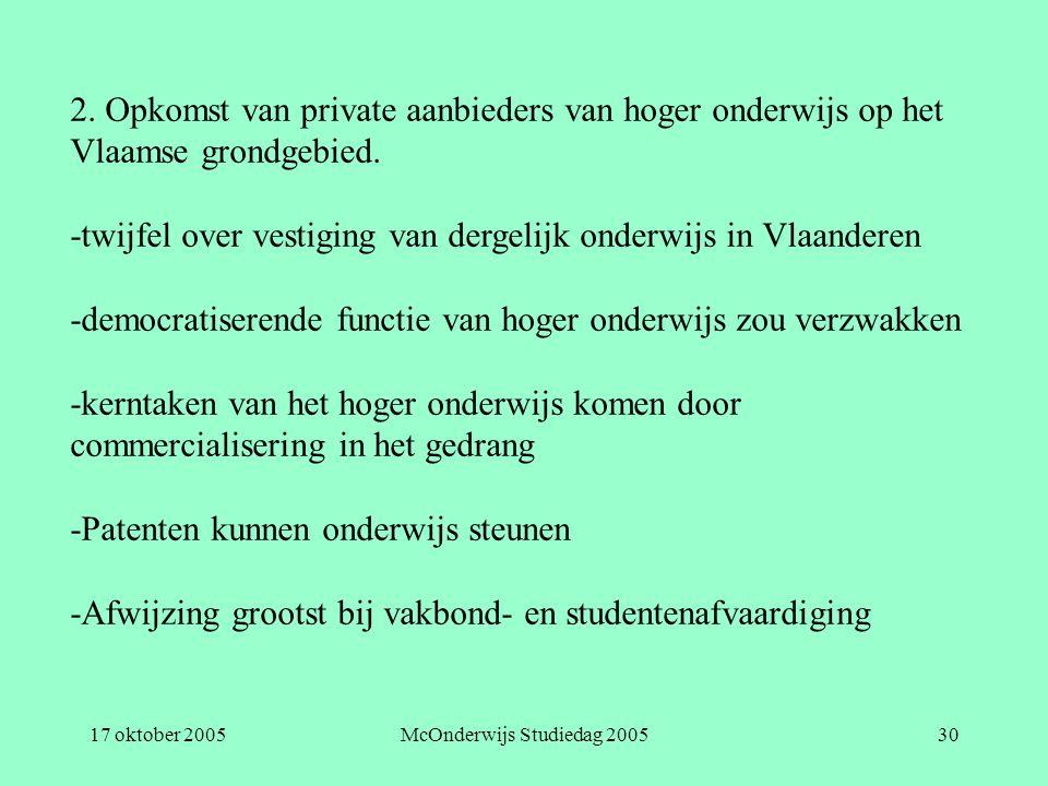17 oktober 2005McOnderwijs Studiedag 200530 2. Opkomst van private aanbieders van hoger onderwijs op het Vlaamse grondgebied. -twijfel over vestiging