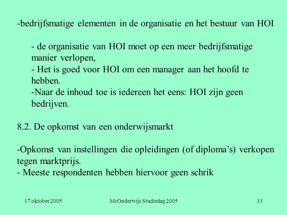 17 oktober 2005McOnderwijs Studiedag 200533 -bedrijfsmatige elementen in de organisatie en het bestuur van HOI - de organisatie van HOI moet op een meer bedrijfsmatige manier verlopen, - Het is goed voor HOI om een manager aan het hoofd te hebben.