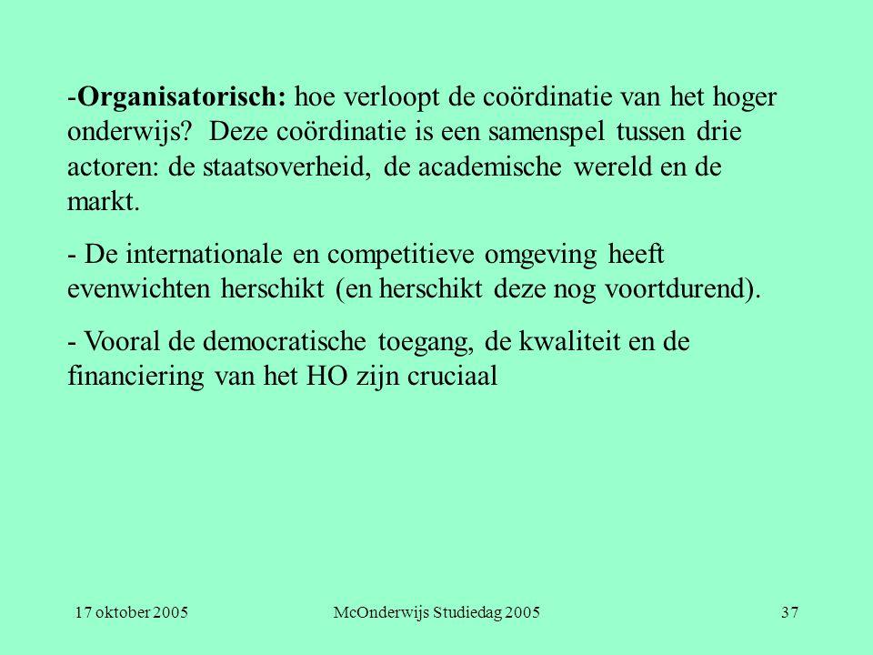17 oktober 2005McOnderwijs Studiedag 200537 -Organisatorisch: hoe verloopt de coördinatie van het hoger onderwijs.