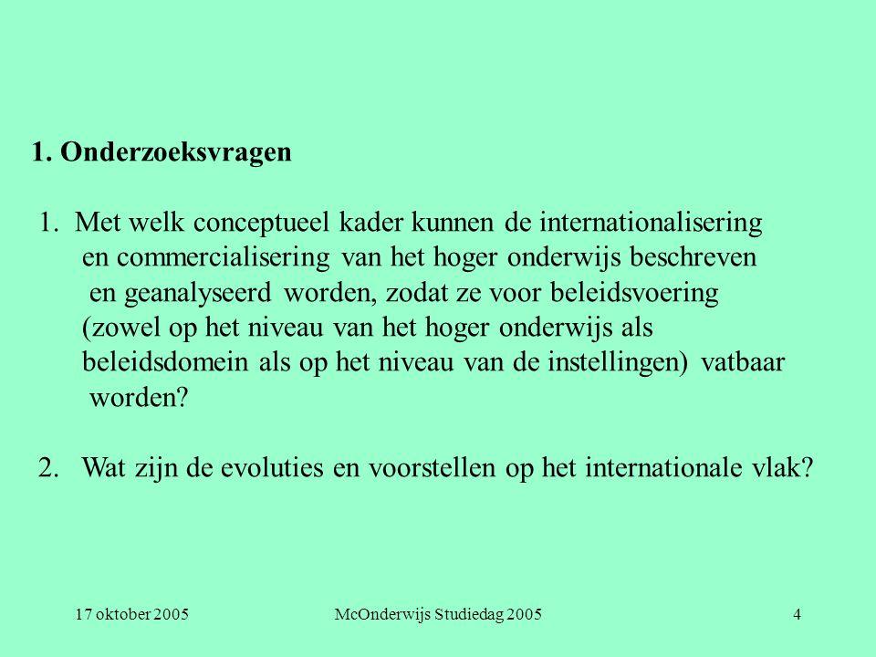 17 oktober 2005McOnderwijs Studiedag 20054 1. Onderzoeksvragen 1. Met welk conceptueel kader kunnen de internationalisering en commercialisering van h