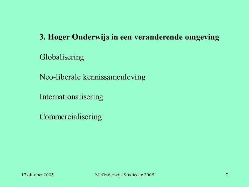 17 oktober 2005McOnderwijs Studiedag 20057 3. Hoger Onderwijs in een veranderende omgeving Globalisering Neo-liberale kennissamenleving Internationali