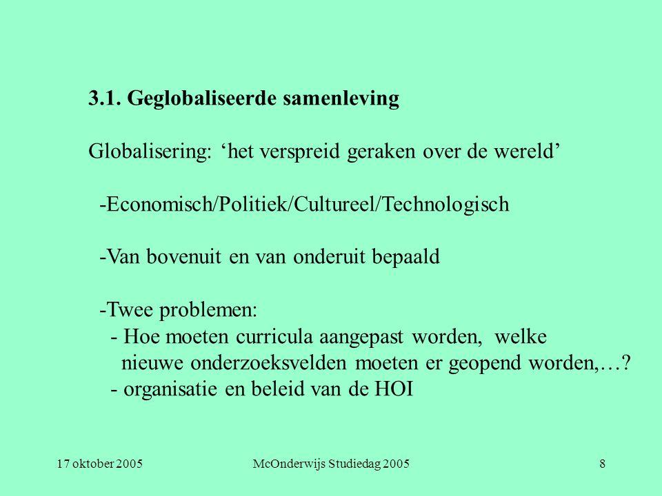 17 oktober 2005McOnderwijs Studiedag 20058 3.1. Geglobaliseerde samenleving Globalisering: 'het verspreid geraken over de wereld' -Economisch/Politiek