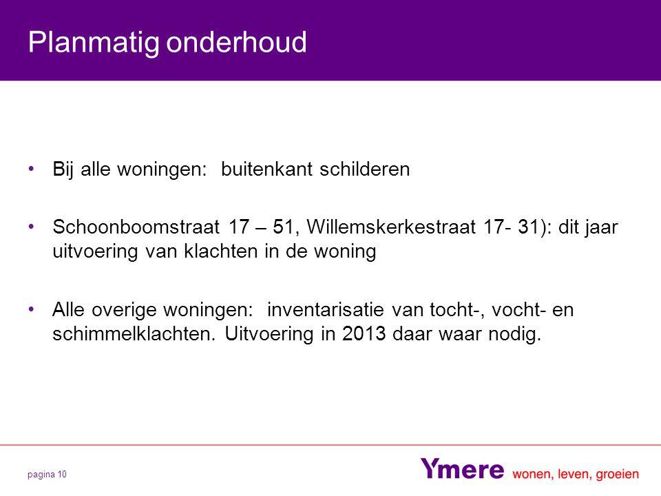 pagina 10 Planmatig onderhoud Bij alle woningen: buitenkant schilderen Schoonboomstraat 17 – 51, Willemskerkestraat 17- 31): dit jaar uitvoering van k