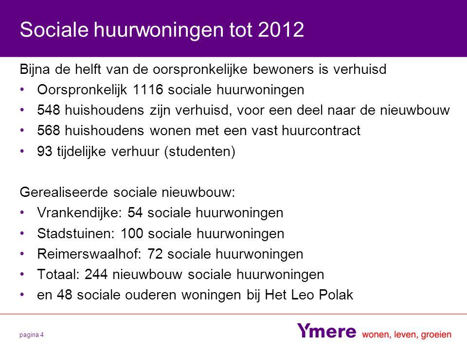pagina 4 Sociale huurwoningen tot 2012 Bijna de helft van de oorspronkelijke bewoners is verhuisd Oorspronkelijk 1116 sociale huurwoningen 548 huishou
