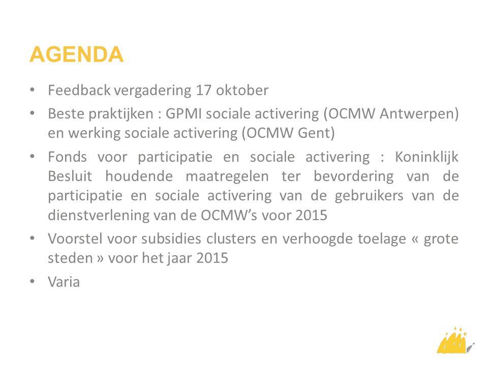 AGENDA Feedback vergadering 17 oktober Beste praktijken : GPMI sociale activering (OCMW Antwerpen) en werking sociale activering (OCMW Gent) Fonds voor participatie en sociale activering : Koninklijk Besluit houdende maatregelen ter bevordering van de participatie en sociale activering van de gebruikers van de dienstverlening van de OCMW's voor 2015 Voorstel voor subsidies clusters en verhoogde toelage « grote steden » voor het jaar 2015 Varia