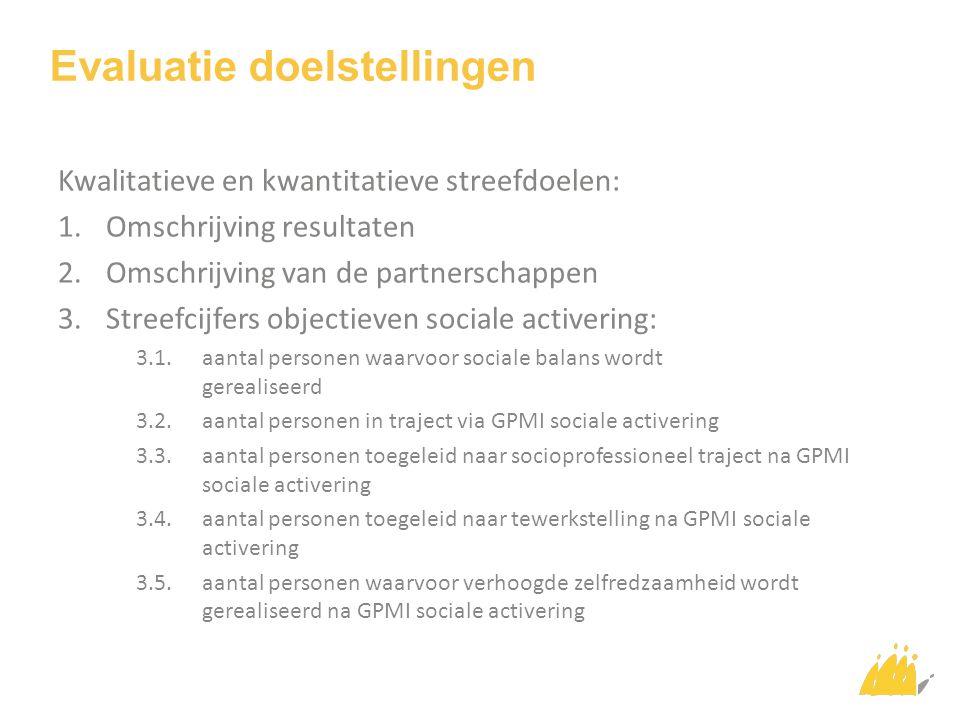 Evaluatie doelstellingen Kwalitatieve en kwantitatieve streefdoelen: 1.Omschrijving resultaten 2.Omschrijving van de partnerschappen 3.Streefcijfers objectieven sociale activering: 3.1.