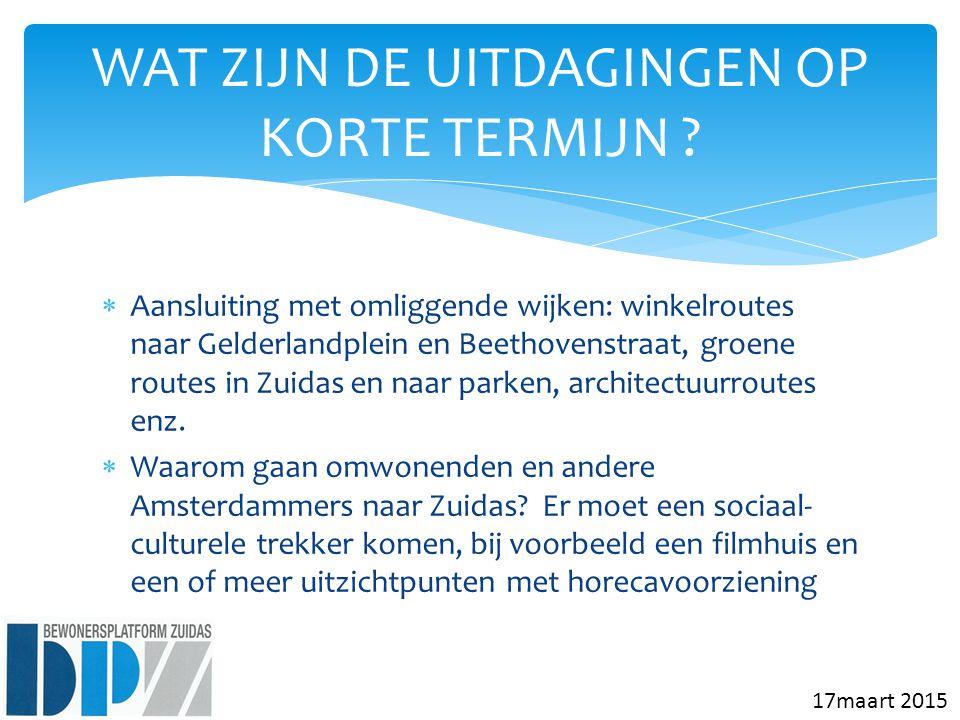  Aansluiting met omliggende wijken: winkelroutes naar Gelderlandplein en Beethovenstraat, groene routes in Zuidas en naar parken, architectuurroutes