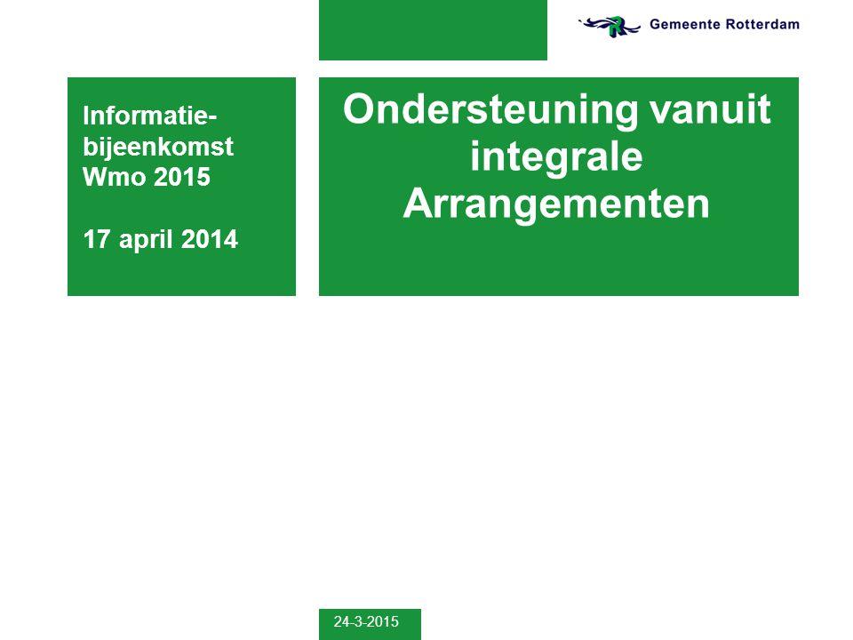 24-3-2015 Ondersteuning vanuit integrale Arrangementen Informatie- bijeenkomst Wmo 2015 17 april 2014