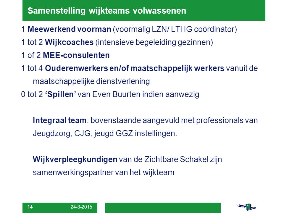 14 Samenstelling wijkteams volwassenen 1 Meewerkend voorman (voormalig LZN/ LTHG coördinator) 1 tot 2 Wijkcoaches (intensieve begeleiding gezinnen) 1