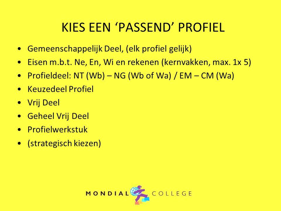 KIES EEN 'PASSEND' PROFIEL Gemeenschappelijk Deel, (elk profiel gelijk) Eisen m.b.t. Ne, En, Wi en rekenen (kernvakken, max. 1x 5) Profieldeel: NT (Wb