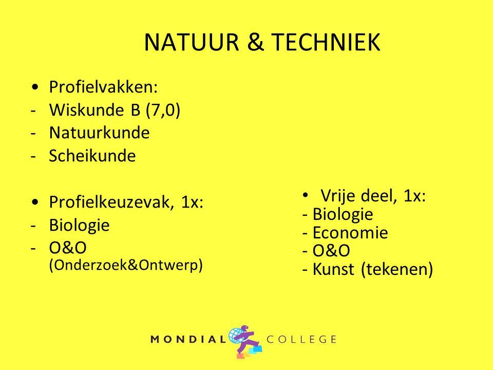 NATUUR & TECHNIEK Profielvakken: -Wiskunde B (7,0) -Natuurkunde -Scheikunde Profielkeuzevak, 1x: -Biologie -O&O (Onderzoek&Ontwerp) Vrije deel, 1x: -