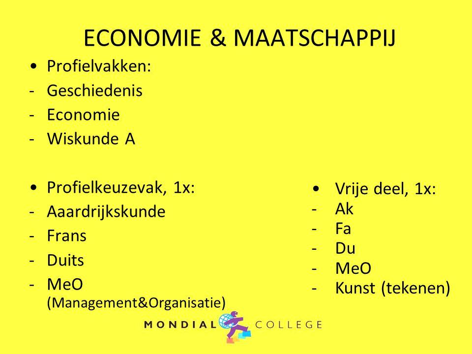 ECONOMIE & MAATSCHAPPIJ Profielvakken: -Geschiedenis -Economie -Wiskunde A Profielkeuzevak, 1x: -Aaardrijkskunde -Frans -Duits -MeO (Management&Organi