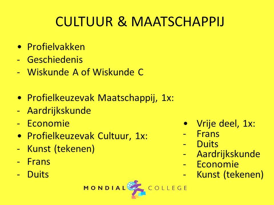 Profielvakken -Geschiedenis -Wiskunde A of Wiskunde C Profielkeuzevak Maatschappij, 1x: -Aardrijkskunde -Economie Profielkeuzevak Cultuur, 1x: -Kunst