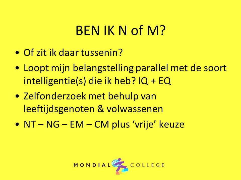 BEN IK N of M? Of zit ik daar tussenin? Loopt mijn belangstelling parallel met de soort intelligentie(s) die ik heb? IQ + EQ Zelfonderzoek met behulp