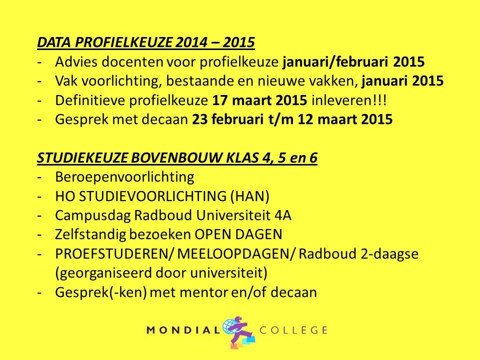 DATA PROFIELKEUZE 2014 – 2015 -Advies docenten voor profielkeuze januari/februari 2015 -Vak voorlichting, bestaande en nieuwe vakken, januari 2015 -Definitieve profielkeuze 17 maart 2015 inleveren!!.