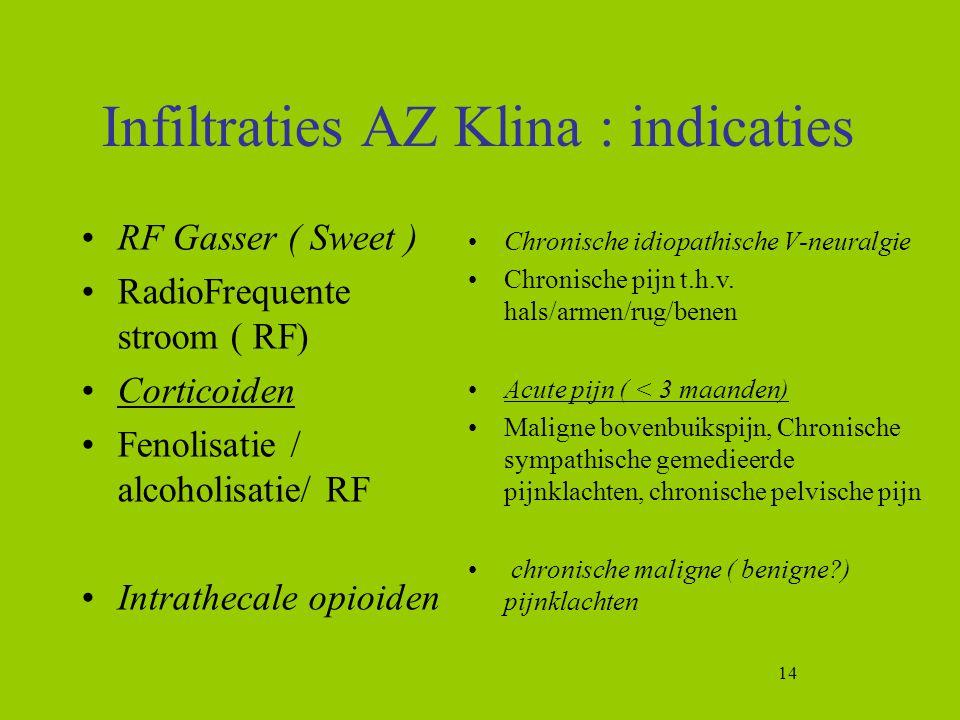14 Infiltraties AZ Klina : indicaties RF Gasser ( Sweet ) RadioFrequente stroom ( RF) Corticoiden Fenolisatie / alcoholisatie/ RF Intrathecale opioide