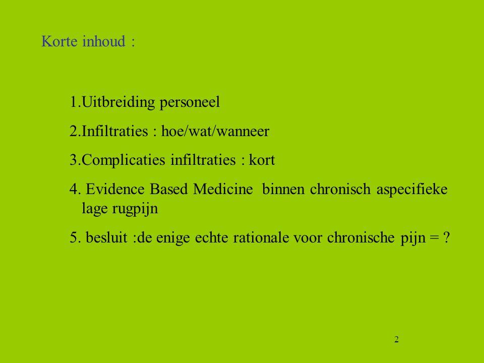 2 1.Uitbreiding personeel 2.Infiltraties : hoe/wat/wanneer 3.Complicaties infiltraties : kort 4. Evidence Based Medicine binnen chronisch aspecifieke